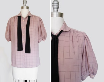 Vintage 80s Menswear Style Button Up Grid Blouse with Bow Tie sz M-L