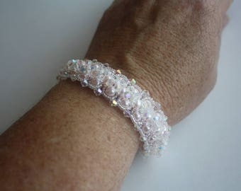 Pearl & Crystal Bracelet - Two Looks In On,One Bracelet with Two Different Looks,Crystals on one side.Pearls on the other