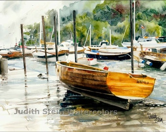 """Portofino Harbour Boats Seascape, Brown, Green Watercolor Painting Print, Wall Art, Home Decor, """"Harbour Boats"""""""