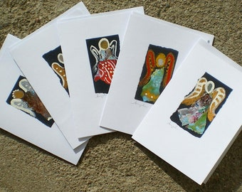 angel cards hand made hand painted collage