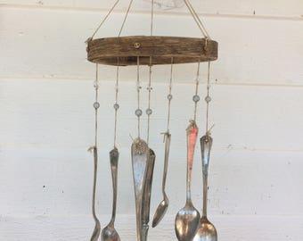 Handmade Vintage Silverware Beaded Wind Chime