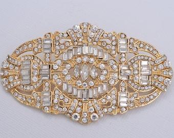 Gold Rhinestone Brooch Gold Bridal Brooch Cake Decorations Hair Comb DIY Crafts Rhinestone Gold Brooch