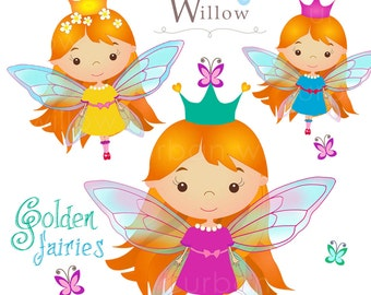 GOLDEN FAIRIES - Clip art for commercial in Png & Jpeg files.
