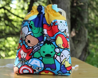 Gifts for Marvel Fans, Avenger Fan Gifts Drawstring Project Bag, Yarn Holder, Gifts for Knitters, Crochet Bag, Gifts for Crocheters