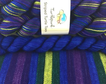 Mystic Topaz with Blue Heel & Toe - Hand-dyed Self-striping sock yarn