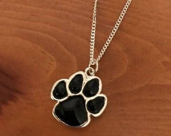 "SALE!!!! Black enamel paw print pendant on 24"" silver plated stainless steel chain"