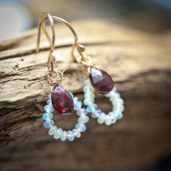 Opal and Garnet - Gold Filled Wrapped Teardrop Dangle Earrings - October Birthstone - January Birthstone