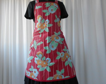 Vintage Floral Full Apron with Red and Green Trim 1960's  #20077