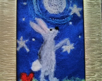 Hare Looking at the Moon needle felted and embroidered picture rabbit stars sparkle gift
