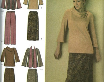 Simplicity 4886 Misses Top, Pants, Skirt and Scarf Pattern, Size 10-18 UNCUT