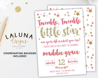 Twinkle Twinkle Little Star Birthday Invitation, Pink and Gold First Birthday, Gold Glitter Birthday Invitation, First Birthday, Printable