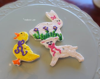 Set of 3  Handmade Fake Cookie Faux  Spring Easter Sugar Cookie Set Bunny Lamb Duck