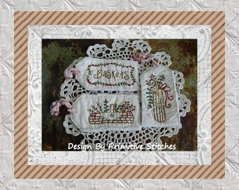 Basket Tag Collection-Primitive Stitchery-E-PATTERN by Primitive Stitches-Instant Download