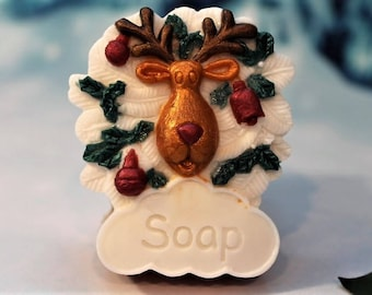 Reindeer Soap, Christmas Soap, Rudolph Soap, Christmas Favor Soap, Stocking Stuffers, Red Nose Reindeer Soap, Santa's Reindeer Soap Favors