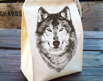 Wolf Lunch bag, Cotton lunch bags, School Lunch box, Eco Friendly Lunch Sack, Woodland WOLF gift, Recycled Cotton Canvas reusable Lunch Bag