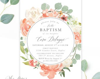 Girl Baptism Invitation Floral: Baptism Invitation Girl Printed, Blush Pink, Peach, White Flowers & Greenery, Scripture - Printable - Cora