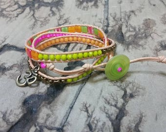Bright and vibrant 3x Adjustable leather wrap