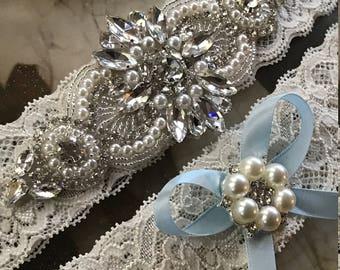 Wedding Garter, bridal garter, something blue, Ivory Lace Garter Set, wedding garter set, Rhinestone Garter, Applique Garter, Vintage Garter
