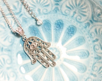 Tibetan silver Hamsa necklace, Hamsa, Hand of Fatima, Israel, long necklace, Boho, 1001 nights, Judaica, Arabic, Oriental, חמסה
