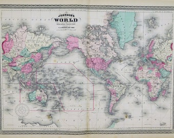 Antique world map etsy 1873 antique world gumiabroncs Images