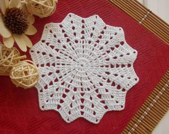 Crochet coaster Small crochet doily White crocheted doily Cotton lace doilie Small crochet doilies Lace coaster 398