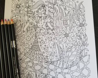 Adult Coloring Page | Flower Princess | Instant Download