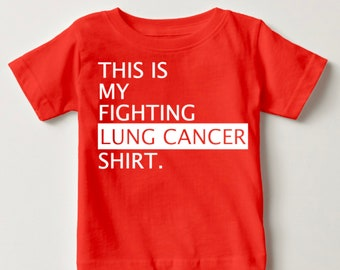 Fighting Lung Cancer T-Shirt - Cancer Awareness T-Shirt - Ribbon Awareness T-Shirt - Hope For a Cure - Cancer T-Shirt - Ribbon with  Lungs