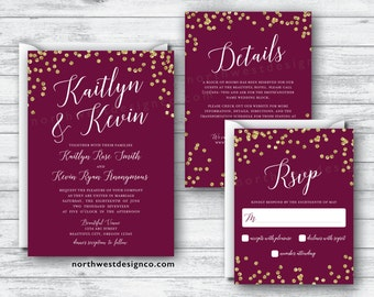 Maroon Gold Wedding Invitation Set Wine Themed Wedding Suite Burgundy Gold Bling Invite - Digital or Printed