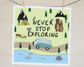 Never Stop Exploring Card | Travel Card | Going Away Card | Leaving Card | Bon Voyage | Moving Card | Wanderlust Card | Vintage Kombi | Cute
