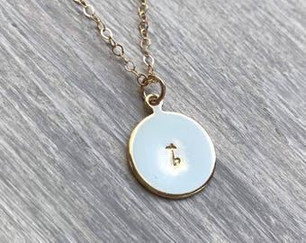 Gold Initial Necklace - Personalized Hand Stamped Initial Disc Charm, Mother's Necklace-14k Gold Filled Necklace, Bridesmaid Necklace