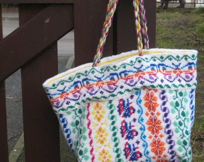pdf pattern for Dodies Fair Isle Bag by Elizabeth Lovick - instant download
