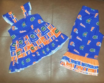 Gators tunic and ruffle pants, Gators outfit, girls game day outfit, college football, university of Florida, Florida Gators