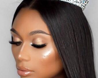 Silver Rhinestone Jeweled Wedding Prom Goddess Crown
