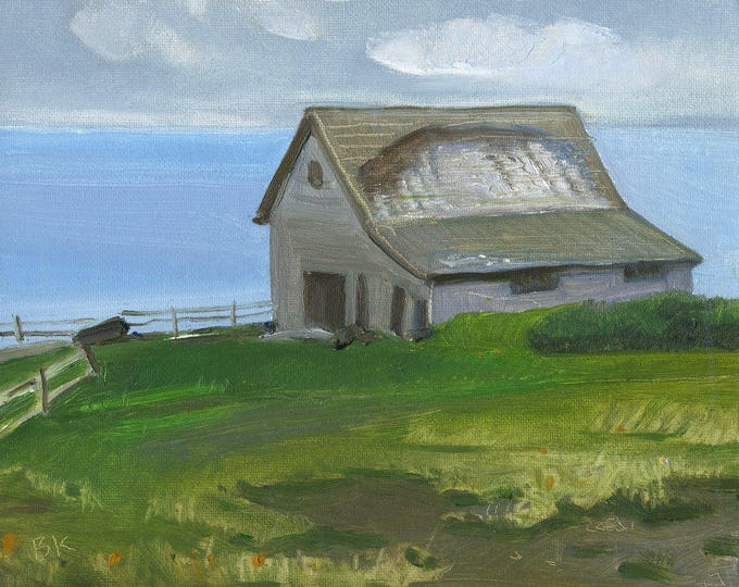 "Oil 10x8"" ""Barn on the harbor "" by B. Kravchenko for SEASTYLE"