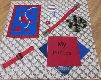 Fidget Quilt for Alzheimer Patients, Gift for Grandparent, Wheelchair Activity, Rehab Tool, Father's Day Gift,