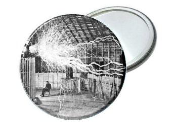 "Pocket Mirror- Nikola Tesla 2.25"""