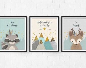 Woodlands Nursery, Adventure Awaits, Print Set, Forest Animal Set, Nursery Art, Forest Friends, Nursery Forest Decor, Deer Racoon, Mountains