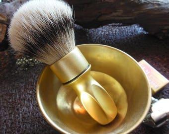 Vintage handmade Shaving Brush Satin Gold Handle 24mm HMW Silvertip Badger Knot