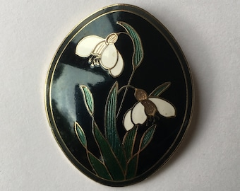 Vintage Cloisonne Snowdrop Brooch by Fish and Crown