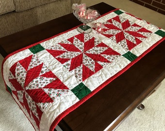 """Christmas Table Runner Quilted Star Block 12"""" x 43"""" ON SALE"""