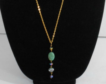 Crystals Long Gold Chain Necklace,Long Gold Chain Turquoise Necklace,Long Multi Colored Stone Necklace,Long Gold Chain Stone Necklace,Chain