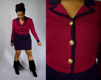 Vintage 80s LIZ CLAIBORNE Oxblood Wine and Navy Bodycon Pencil Secretary Wiggle Day Party Sweater Dress (sz L XL 12)