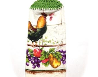 Obst und Hahn Handtuch mit Gras grün Gehäkelte Top