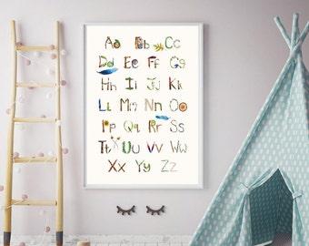 Alphabet Poster - Nursery Decor- Eco Friendly Materials - Kids Room Decor - Nursery Art - Alphabet Art- Alphabet Print - Nursery Alphabet