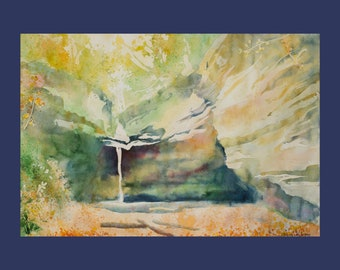 Charming fall - Art PRINT - Watercolor Painting - Starved Rock State Park