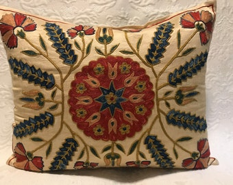 Hand Emboidered Silk Decorative Pillow Cover, Suzani Pillow, Throw Pillows, Couch Decorative Pillow,