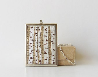 Birch trees necklace, embroidered jewelry, silk ribbon embroidery, woodland necklace, rustic forest necklace, rectangular pendant