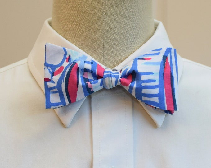 Men's Bow Tie, Lilly Red Right Return, blue pink and white bow tie, sailing motif bow tie, wedding bow tie, ocean theme bow tie, self tie