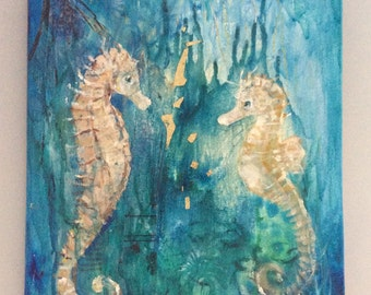 Blue Two Seahorses Oil on Canvas Painting 10x12""