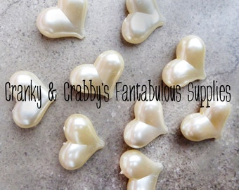 Puff Pearl Hearts - Ivory 23mm x 30mm x 12mm Bag of 10  - Chunky Necklaces -  Valentine holiday